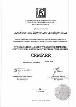 Сертификат профессионала в сфере управления рисками Кристины Агаджановой