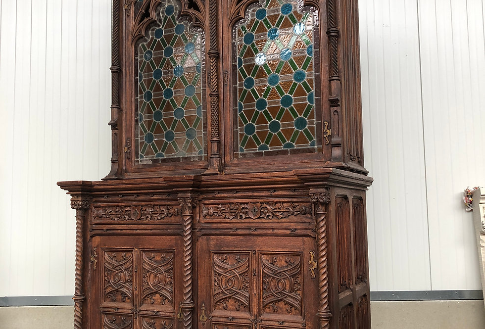 Gothic Bookcase with leaded glass