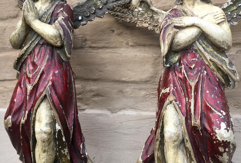 Decorative Pair of Antique Angels in wood circa 1800