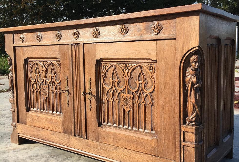 Gothic cabinet in oak circa 1900