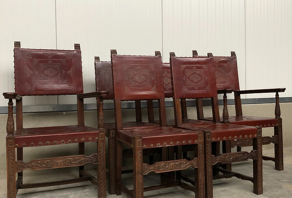 Set of 6 Spanish Pressed leather Chairs