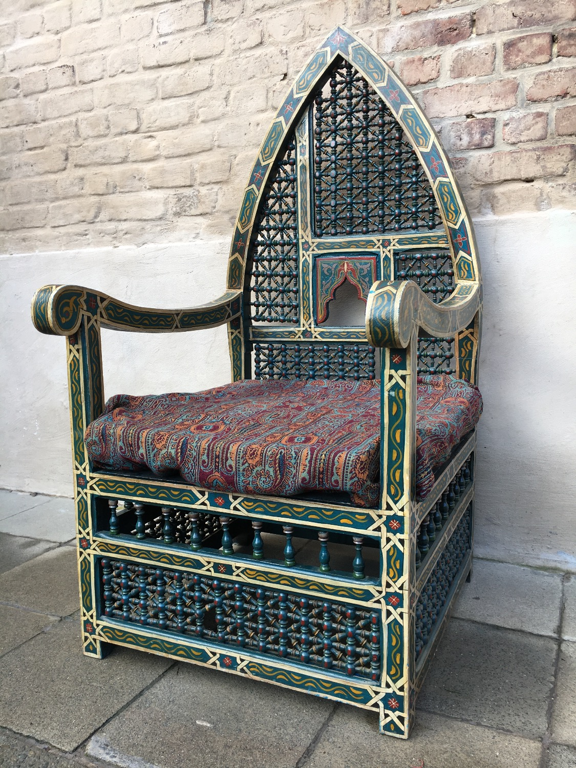 Antique Handpainted Gothic Throne Chair