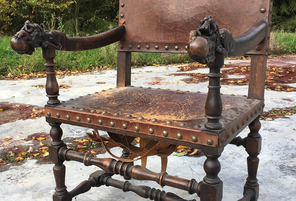 Antique Spanish Medieval Castle Armchair with mythical dragons