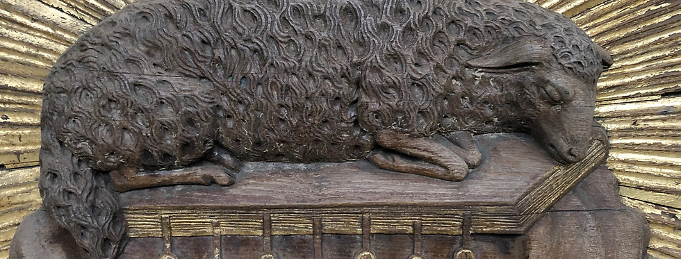Religious Neo Gothic Lamb with the seven seals in oak