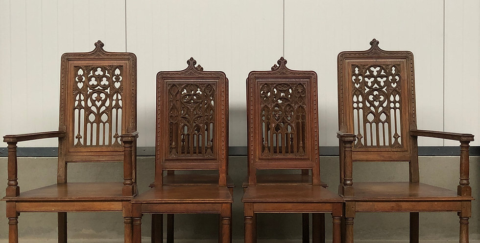 Nice Set of 6 Antique Gothic Chairs circa 1880
