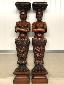 Pair of Renaissance Statues in oak