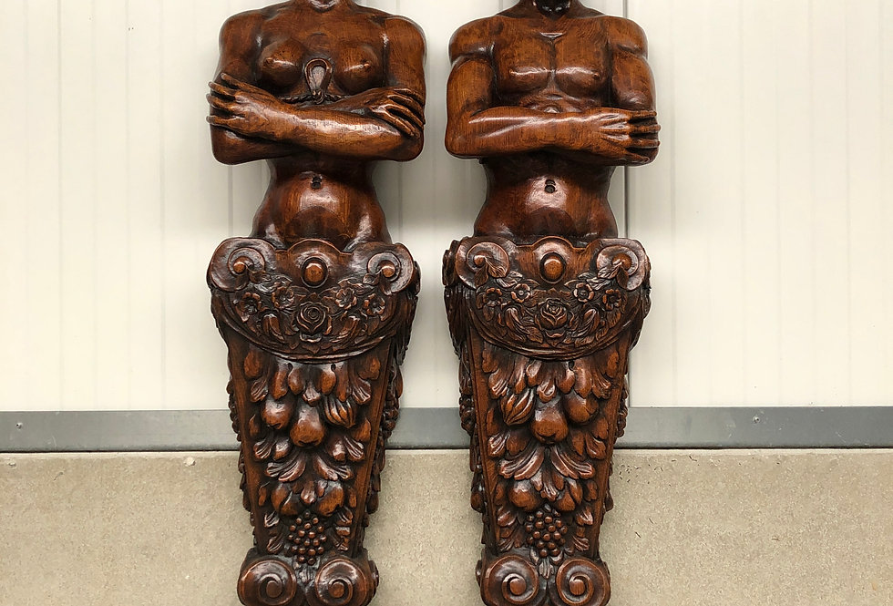 Exceptional Pair of 19th C. Renaissance  (Fireplace) Statues in oak