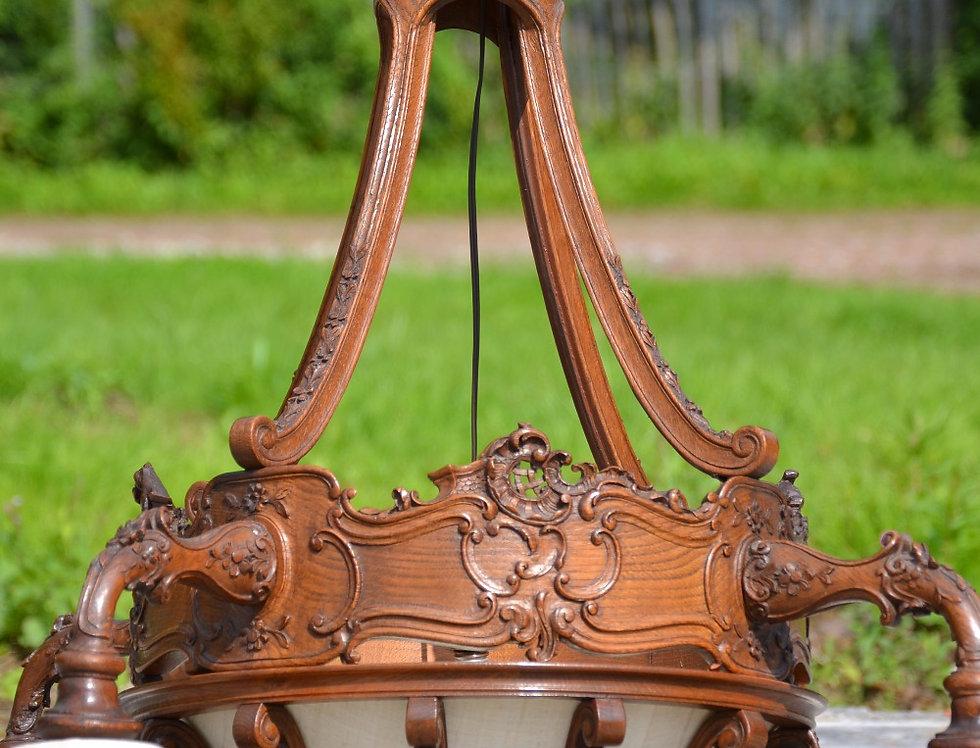 Rare French Louis XV Chandelier in oak circa 1900