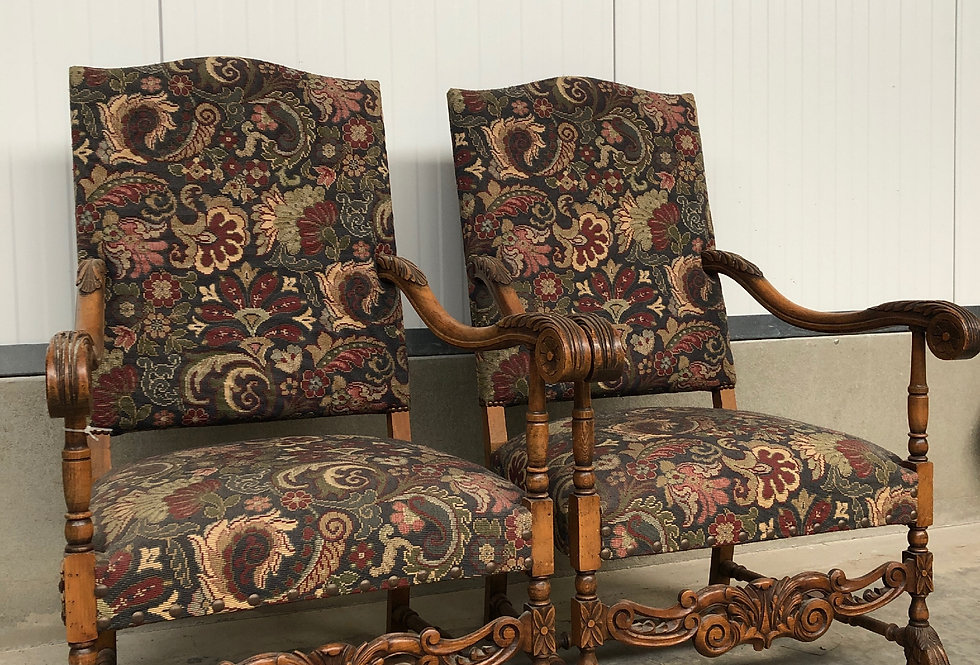 Pair of Antique Tapestry Armchairs