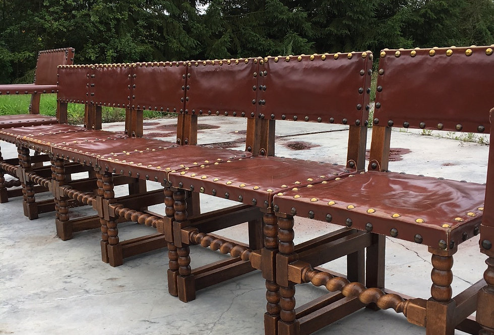 Set of 8 Leather Renaissance Chairs circa 1900