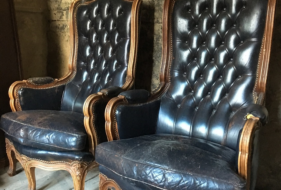 Vintage Pair of Leather Armchairs