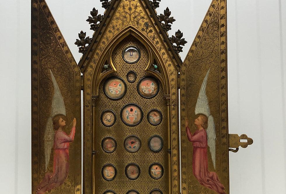 Exceptional Bronze Chapel With 16 Relics - True Cross
