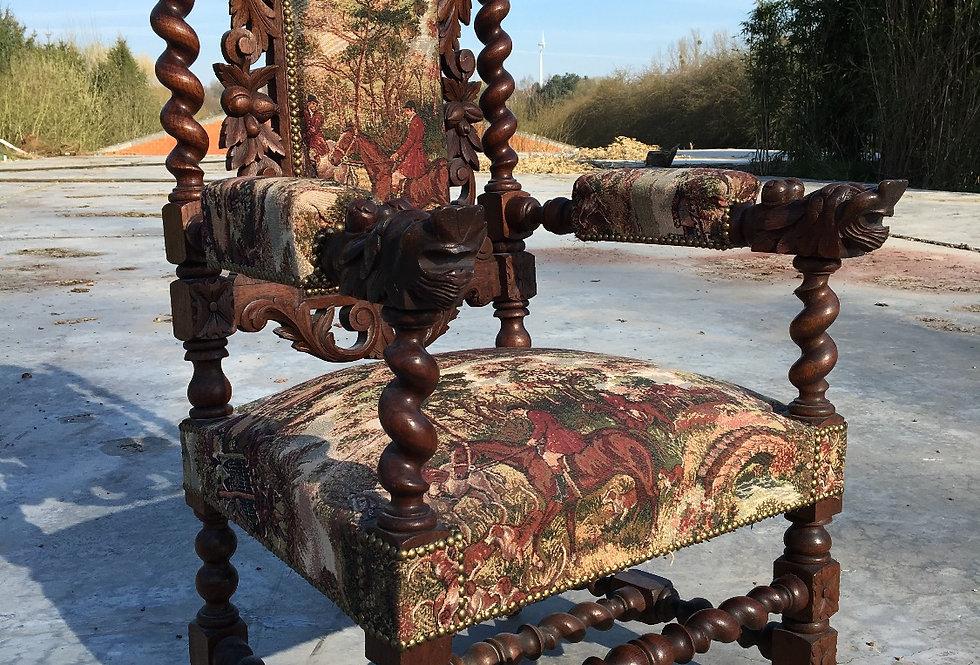 Carved Hunt Armchair in oak