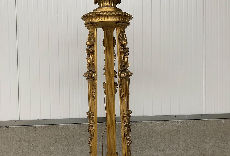 Special & Large Gilt Italian Floor Lamp with peacock & cherubs in wood
