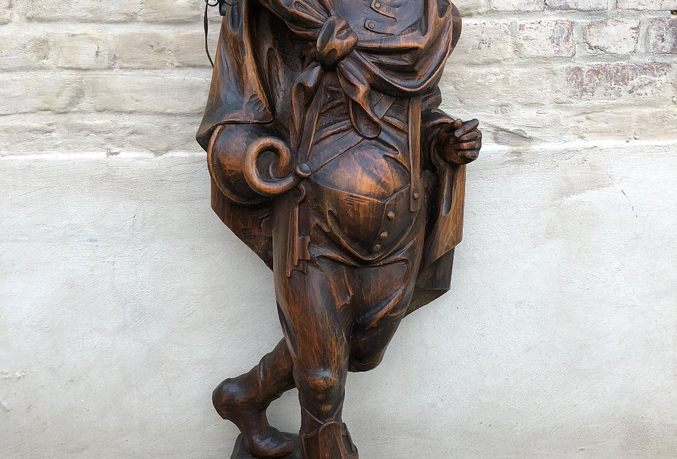 A Stunning Antique Man of the Mountain / Guard Statue in wood