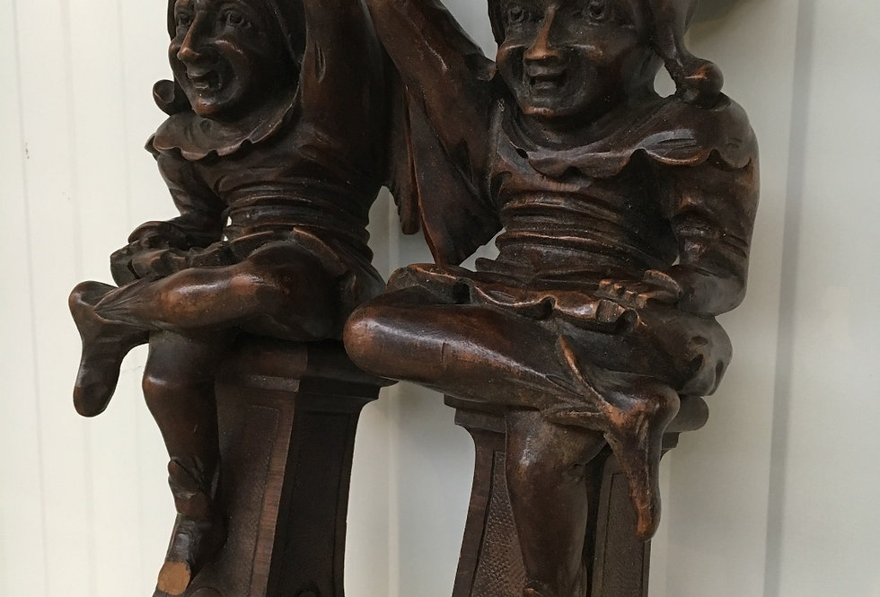 Nice Pair of Antique jesters in wood