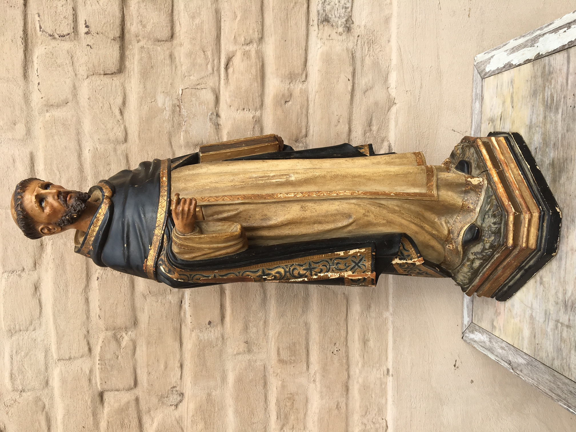 Antique church statue in wood