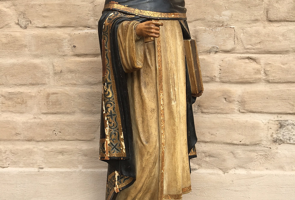 Religious church Statue in wood with glass eyes - 72 cm high