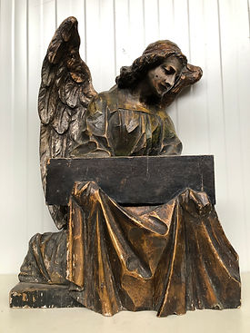 19 th C. Angel carved in wood