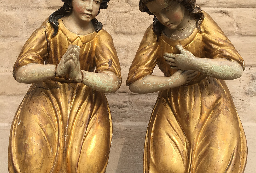 Pair of Kneeling Angels / church Statues (Italy ca 1800)