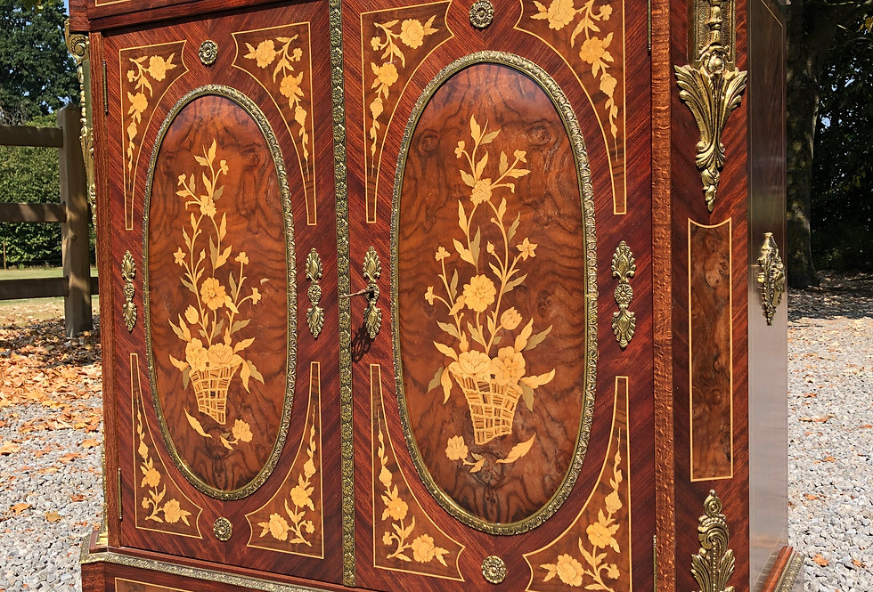 Italian Marquetry Cabinet with Marble top