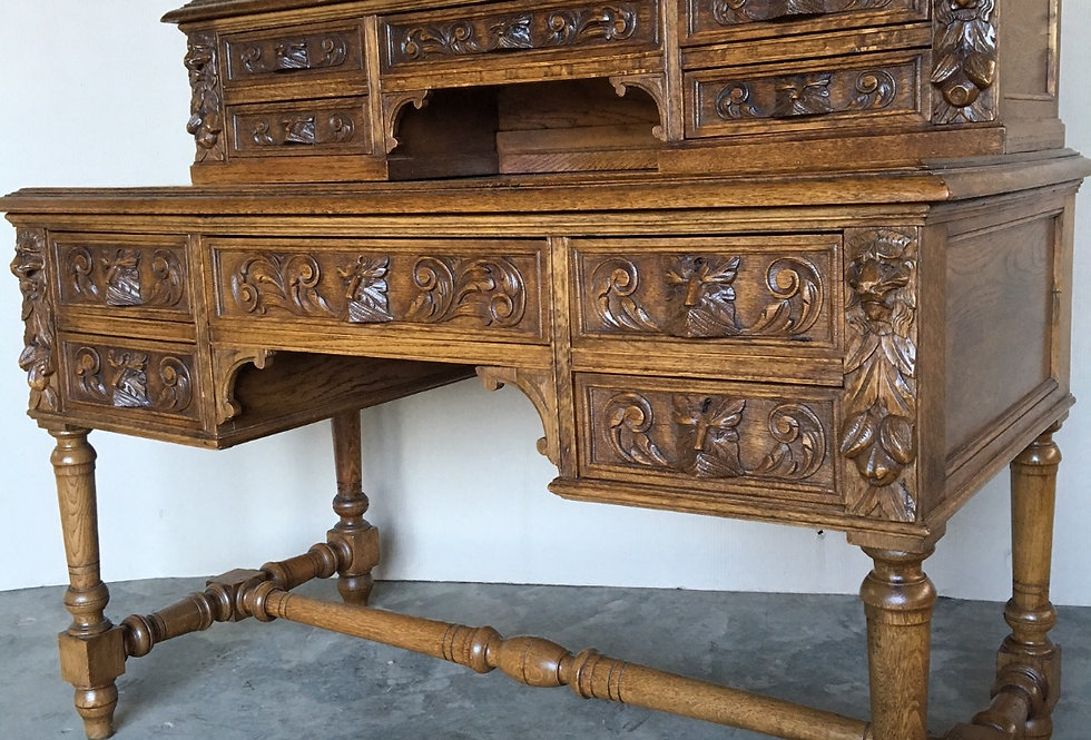 Antique French Hunting Desk in oak circa 1900