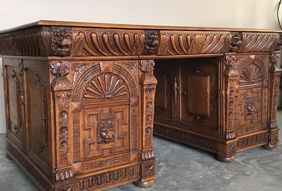 Renaissance Double Trouble Desk in oak circa 1900