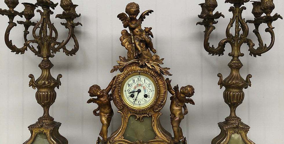 19th C. Louis XV Putti Clock Set Marti & Cie