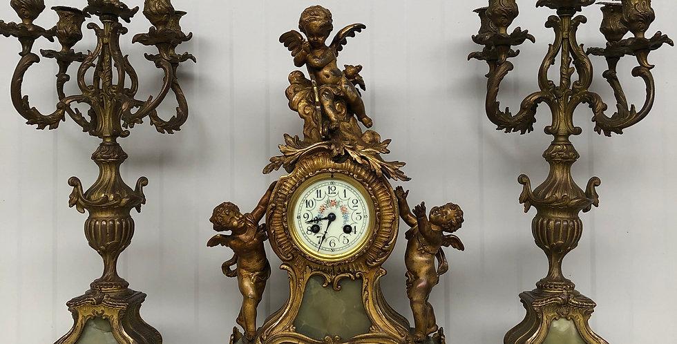 19th C. Louis XV Putti Clock Set Marti & Cie