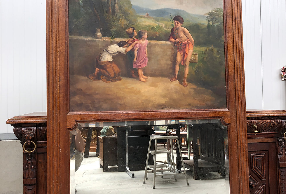 Antique Trumeau Mirror with painting