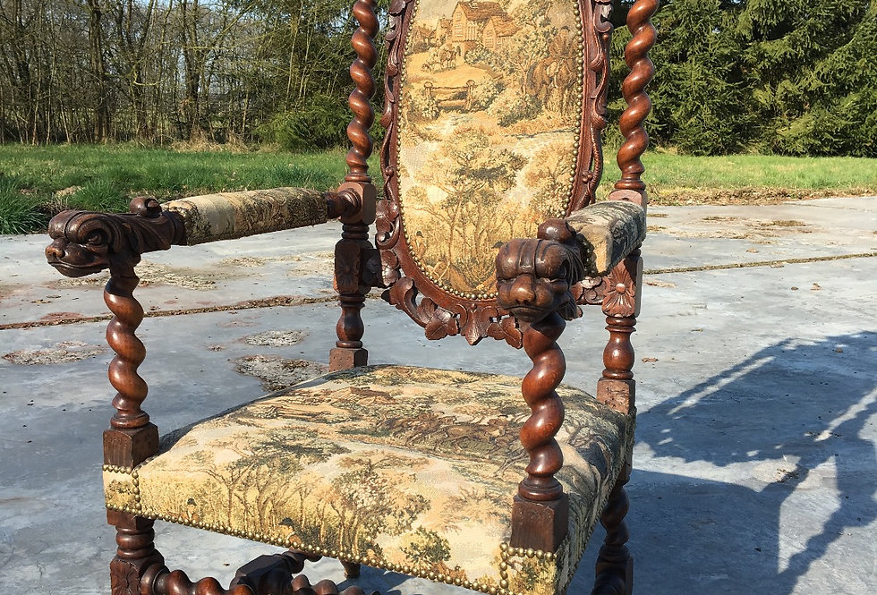 Antique French hunting Chair with dolphin heads