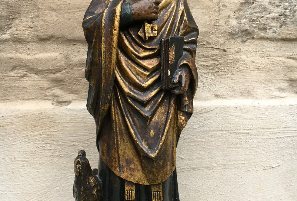 Beautiful Saint Peter Statue with Rooster in wood circa 1880
