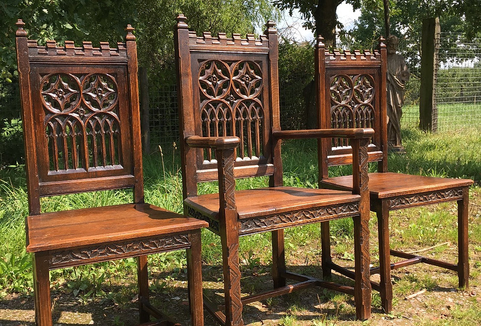 set of 3 Gothic Chairs circa 1880