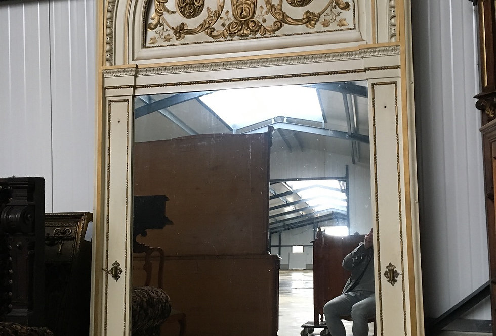 Impressive 19th C. Louis XVI Castle Trumeau / Mirror in wood
