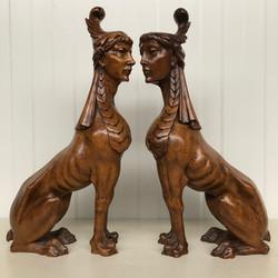 Pair of Walnut Griffins