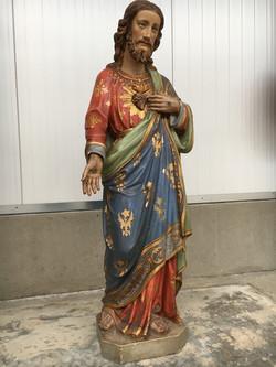antique church statue in wood