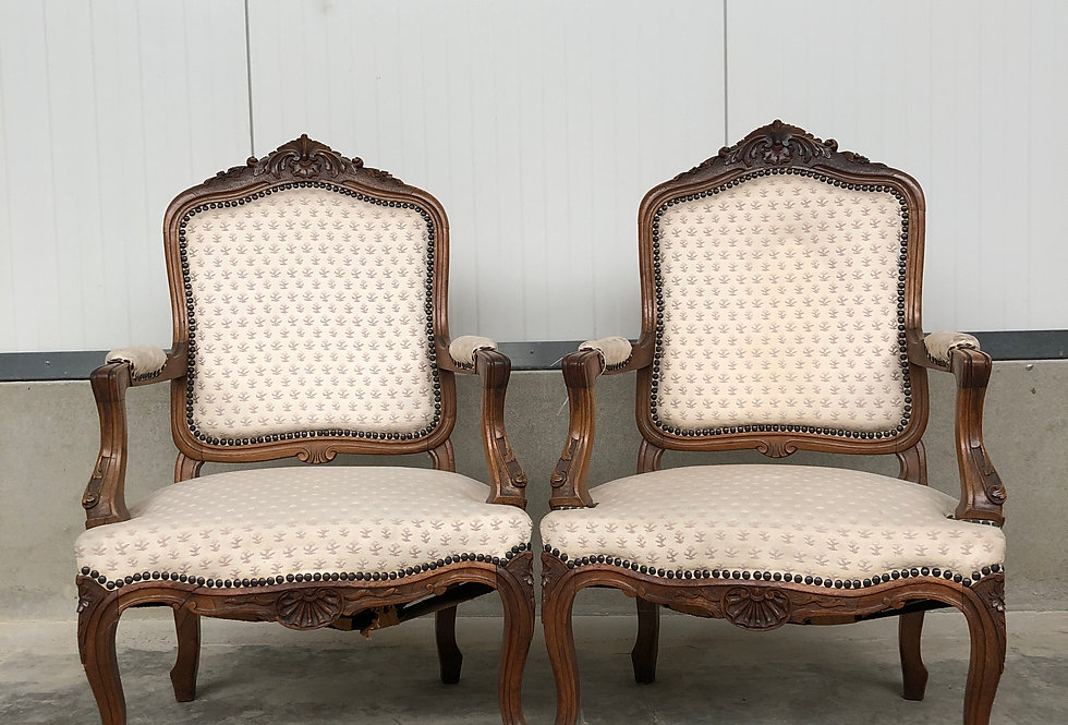 Pair of Walnut  Louis XV /Liège Style Armchairs