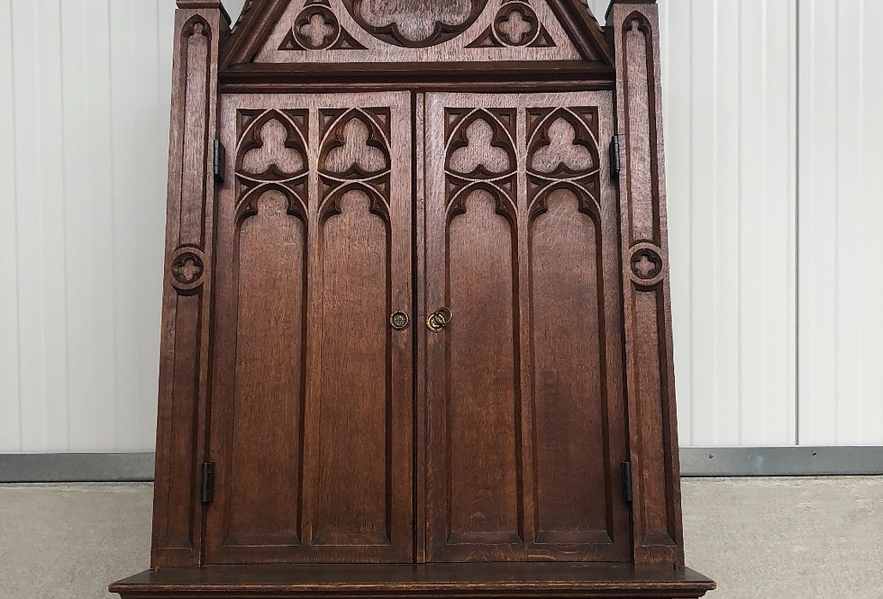A Very Impressive X-Large Gothic Church Wall Cabinet 77.559 inch / 197 cm high