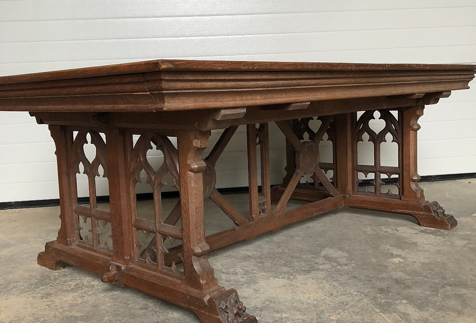 Beautiful Carved Antique Extendable Gothic Table circa 1900