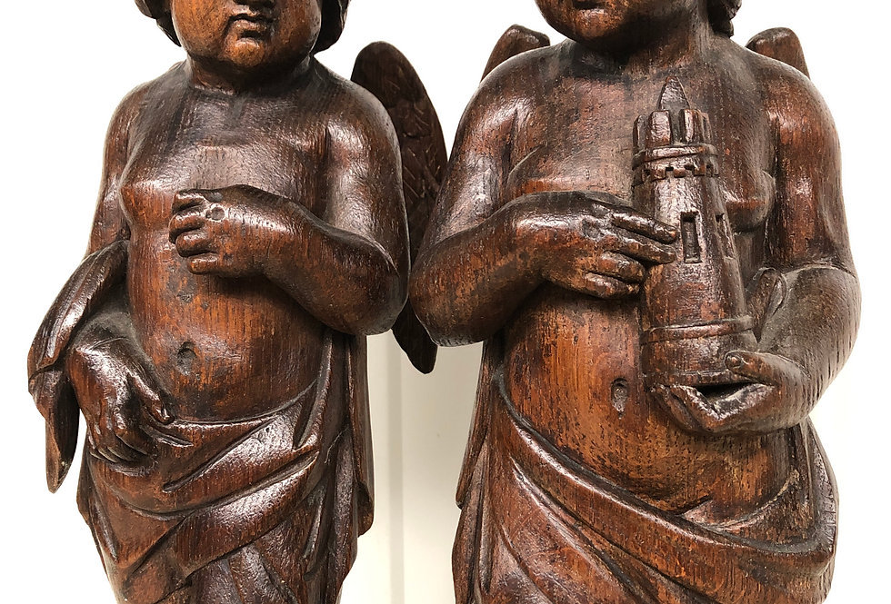 Exceptional Pair of Angels/ cherubs in oak circa 1850