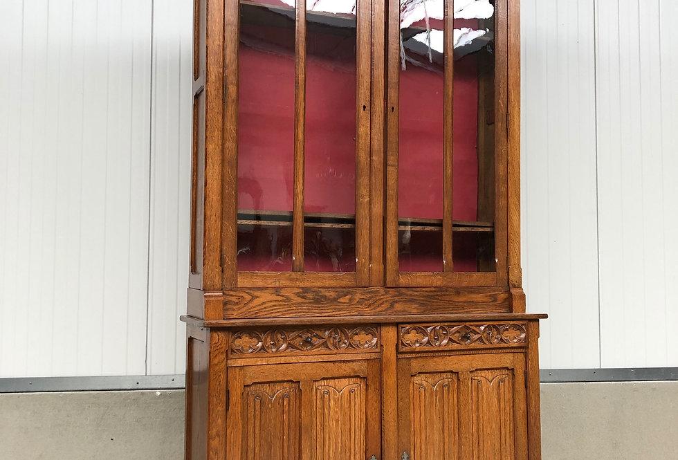 Gothic Vitrine/china Cabinet in oak circa 1880