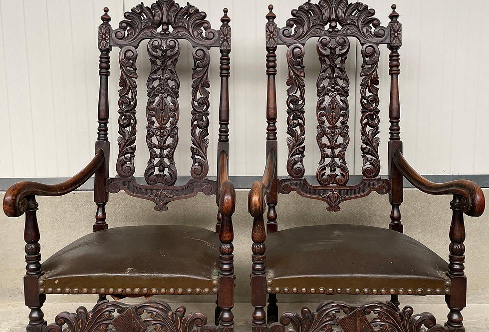 Pair of Neo Renaissance Armchairs