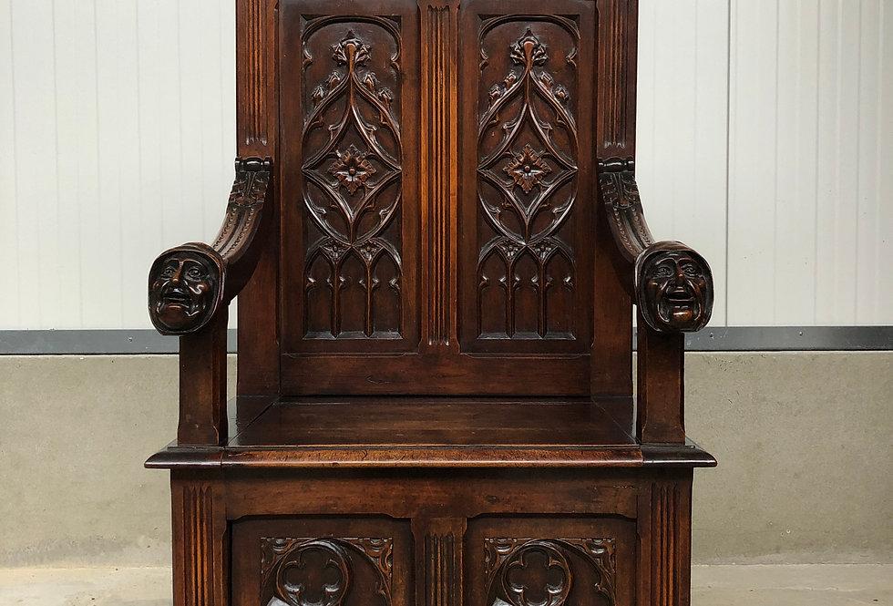 Nice French Walnut Gothic Throne Chair Circa 1880