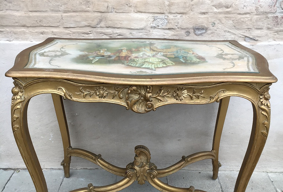 Nice Gilded Louis XV Centre table with Painting on top circa 1920