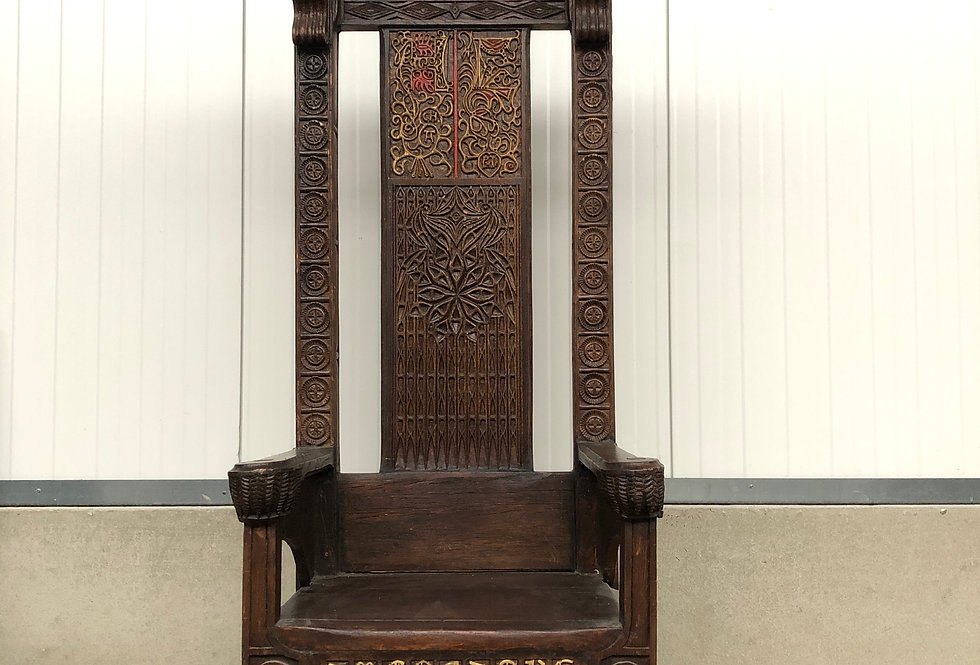 Medieval Style Gothic Throne Chair in oak