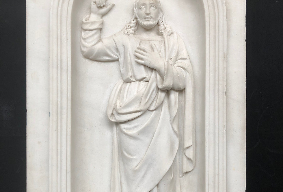 19th C. Christ Relief in Marble