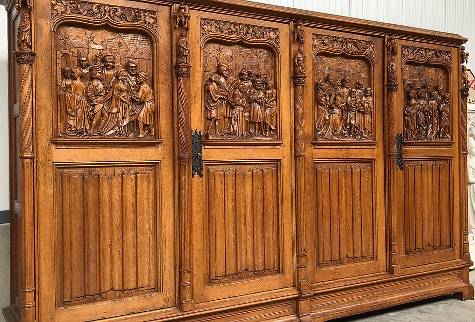 Top Quality Gothic Storage/ bookcase Cabinet with Deeply carved fragments