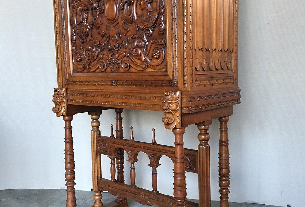 Renaissance Spanish Bar Cabinet in Walnut circa 1950