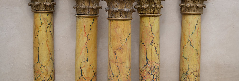 19th C. Faux Marble Columns surmounted by a Corinthian Capital with leaves
