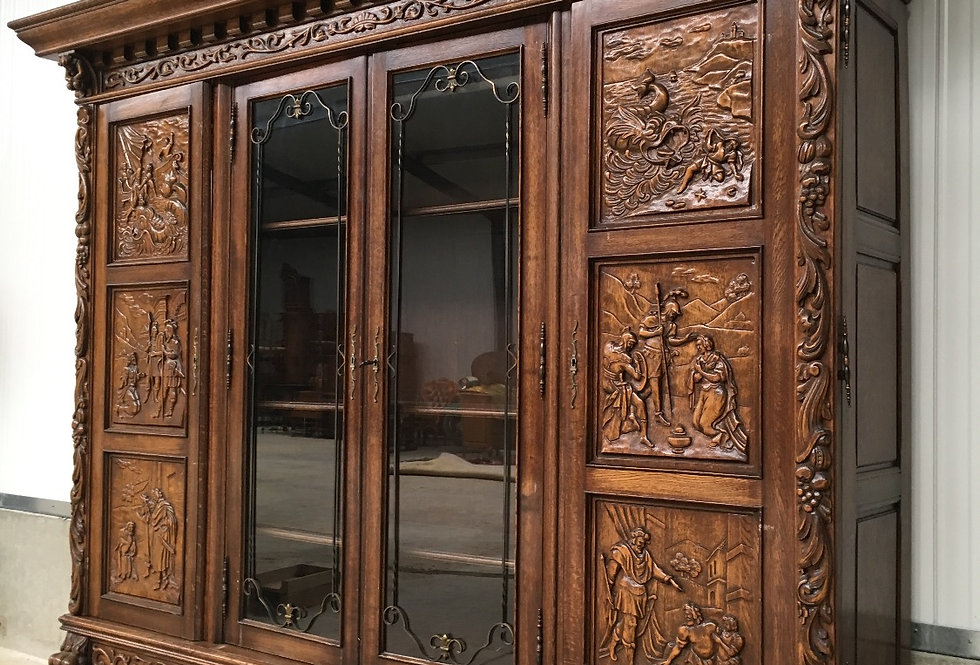 Large Carved Renaissance Bookcase